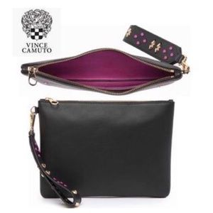 NWT Vince Camuto Clutch Black Leather